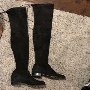 Stuart Weitzman Black Suede Lowland boots